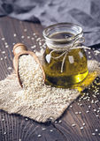 Sesame oil and seeds royalty free stock photos