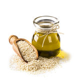 Sesame oil and seeds royalty free stock photo