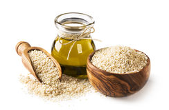 Sesame oil and seeds royalty free stock photography