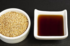 Sesame oil and sesame Royalty Free Stock Photo