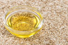 Sesame Oil in a small bowl stock images