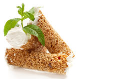 Sesame pastry with whipped cream Royalty Free Stock Photography