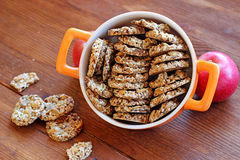 Sesame and peanuts healthy cookies Royalty Free Stock Photography