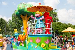Sesame Place, Parade. Langhorne, PA July 21, 2018:Sesame Place, Parade, Sesame Place is a children`s theme park, located on the outskirts of Philadelphia stock images