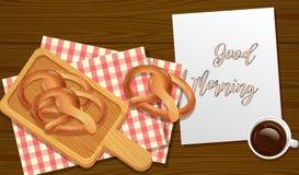 Sesame Pretzels Breakfast Top View. Illustration Royalty Free Stock Photo