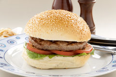 Sesame Roll Hamburger Royalty Free Stock Images