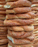 Sesame round buns pile Stock Images