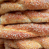 Sesame round buns pile closeup Royalty Free Stock Photography