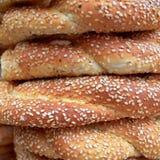 Sesame round buns pile closeup Royalty Free Stock Photography