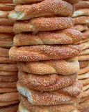 Sesame round buns pile Stock Photos
