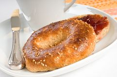 Sesame Seed Bagel Royalty Free Stock Photography