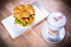 Sesame seed bagel with chicken and bacon Stock Photography
