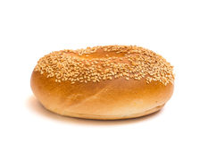 Sesame seed bagel isolated on a white background Royalty Free Stock Photos