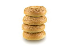 Sesame Seed Bagels Isolated on White Background Royalty Free Stock Photography