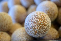 Sesame Seed Balls. Is one of the most famous and beloved Vietnamese desserts. A golden brown shell of sesame studded rice flour that is crispy on the outside Stock Photos