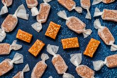 Sesame Seed Caramels. Sesame Seed Caramel Candies, Homemade ChewyToffees royalty free stock photos