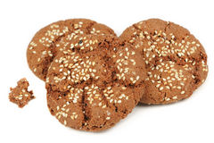 Sesame Seed Cookies Isolated on White Background Royalty Free Stock Image