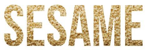 Sesame seed. Sesame text banner sample over white stock photo