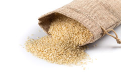 Sesame seeds in flax sack Royalty Free Stock Photography