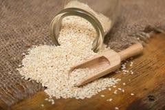 Sesame seeds in  jar Royalty Free Stock Photos