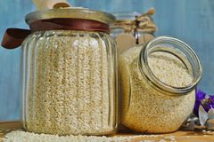 Sesame seeds in a jar Royalty Free Stock Photos
