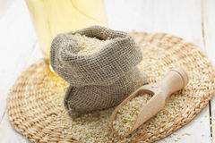 Sesame seeds and oil Stock Images