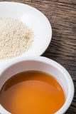 Sesame seeds oil and sesame seeds Stock Images
