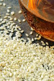 Sesame seeds and sesame oil Royalty Free Stock Photo