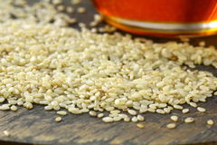 Sesame seeds and sesame oil Stock Photography