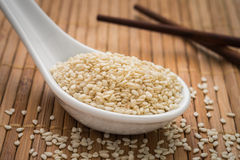 Sesame seeds on spoon Royalty Free Stock Image
