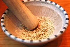 Sesame Seeds in a Suribachi stock photos