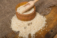 Sesame seeds in  a wooden pot Stock Photos