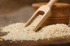 Sesame seeds in  a wooden pot Royalty Free Stock Photography