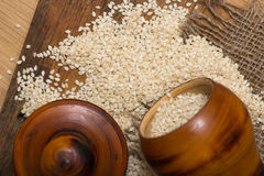 Sesame seeds in a wooden pot Royalty Free Stock Photo