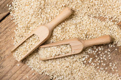 Sesame seeds in  a wooden scoop Royalty Free Stock Photos
