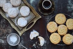 Free Sesame Shortbread With Date Stuffing. Middle Eastern Cookies. Eid And Ramadan Dates Sweets. Kahk. Arabian Cuisine. Copy Space Royalty Free Stock Image - 115118906