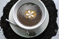 Sesame soup. Black Sesame soup - Macrobiotic soup Royalty Free Stock Photo