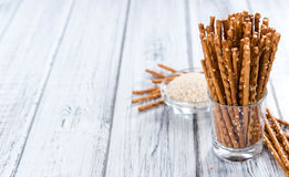Sesame Sticks. (close-up shot) on wooden background Royalty Free Stock Image