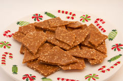 Sesame Toffee on a Christmas Plate Royalty Free Stock Photo