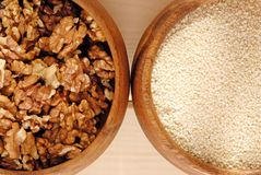 Sesame and walnut. Royalty Free Stock Image
