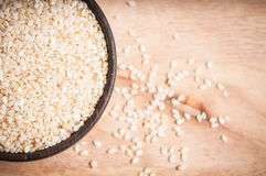 Sesame in wood bowl Stock Photography