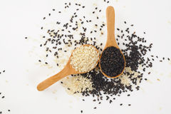 Sesame on wood spoon Royalty Free Stock Photo