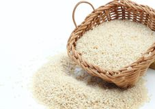 Sesame. In wooden basket with spoon Royalty Free Stock Image