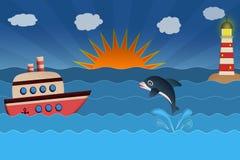 Sescape, schip, dolfijn en vuurtoren op golven bij zonsondergang Stock Foto's