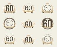 Sesenta años del aniversario de logotipo de la celebración 60.a colección del logotipo del aniversario Imagen de archivo libre de regalías