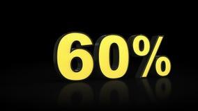 Sesenta representaciones del por ciento 3D del 60% Fotografía de archivo libre de regalías