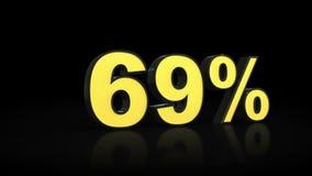 Sesenta y nueve representaciones del por ciento 3D del 69% Libre Illustration