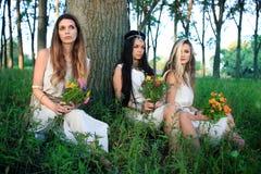 Sesión de foto de la mañana en el bosque con tres mujeres paganas imagen de archivo libre de regalías