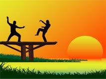 Sesión de la lucha sobre el puente Stock de ilustración