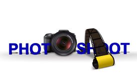 Sesión fotográfica con la cámara y la película Foto de archivo